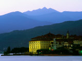 Isola Bella Lakeside Buildings Seen from Stresa at Dusk  Lago Maggiore  Piedmont  Italy
