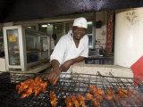 Man Grilling Skewers in Restaurant  Dar Es Salaam  Tanzania