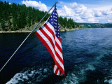 American Flag on Boat  Lake Coeur d'Alene  Coeur d'Alene  Idaho