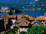 Village Roofs with Lago d'Orta and Isola San Giulio in Background  Orta San Giulio  Piedmont  Italy