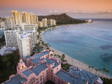 Waikiki Beach with Royal Hawaiian Hotel and Diamond Head at Sunset  Oahu  Hawaii