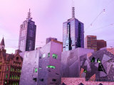 Federation Square at Dusk  Melbourne  Victoria  Australia