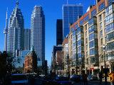 Flatitron Building Overshadowed by Skyscrapers  Toronto  Canada