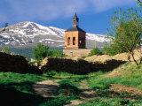 Country Path to Village Church Beneath Snow Capped Sierra Nevada  La Calahorra  Andalucia  Spain