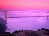 Golden Gate Bridge at Dawn in Fog  San Francisco  California