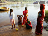 Females Washing in River in Morning  Hampi  Karnataka  India