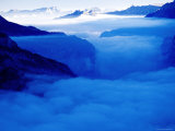 Clouds at Sunrise in Lauterbrunnen Valley from Schmadri Hut  Lauterbrunnen  Bern  Switzerland