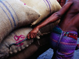 Worker Pulling Cart of Rice Sacks at Sadarghat Market  Dhaka  Bangladesh