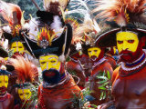 Egele Tribe Members in Traditional Dress at Enga Cultural Show  Wabag  Enga  Papua New Guinea