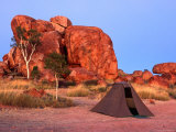 Tent in Front of Rock Formation  Devil's Marbles Conservation Reserve  Australia