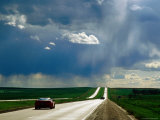 Prairie Thunderstorm over Interstate 90 Between Sioux Falls and Rapid City  Murdo  South Dakota
