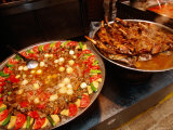 Meat and Vegetable Dishes on Metal Plates  Antalya  Turkey