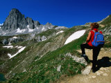 Hiker Enjoying View with Mountain in Distance  Vanoise National Park  Rhone-Alpes  France