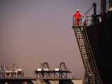 Crew Member Entering Cargo Ship on Ladder  Los Angeles  California