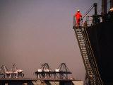 Crew Member Entering Cargo Ship on Ladder  Los Angeles  California