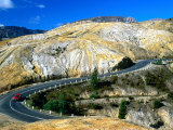 Hairpin Bend on Lyell Highway Surrounded by Moonscape Hills near Queenstown  Tasmania  Australia