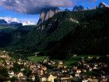 Ortisei Village and Peak of Sassolungo in Dolomites  Ortisei  Trentino-Alto-Adige  Italy