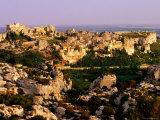 Citadel Rocks and Township in Evening  les Baux de Provence  Provence-Alpes-Cote d'Azur  France
