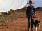 Boy with Dog Walking Past Solar Energy Dishes  New South Wales  Australia