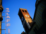 Sign and Tower from Street  Turin  Piedmont  Italy