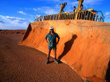 Bauxite Mine Worker Next to Machinery  Weipa  Queensland  Australia