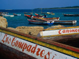 Boats on Waterfront of Chichiriviche with Islands in Background  Falcon  Venezuela