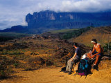 Hikers Taking Break on Hike to Top of Roraima  in Background  Roraima  Bolivar  Venezuela