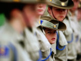 Cadets Standing to Attention During the Anzac Day Ceremony  Melbourne  Australia