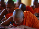 Khmer Buddhist Monks Study Khmer Language and Culture in Community Pagoda  Tra Vinh  Vietnam
