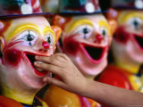 Placing the Ball Down Clown&#39;s Mouth at Sunbury Show  Victoria  Australia