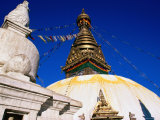 Swayambunath Temple with Prayer Flags  Kathmandu  Bagmati  Nepal
