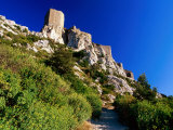 Cathar Castle on Rocky Hillside  Queribus  Languedoc-Roussillon  France