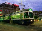 Stationary Tram on Central Sqaure at Dusk  Zurich  Switzerland