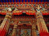 Portico Decoration at Entrance to Main Prayer Hall in Dacanglamu Saichi Temple  Langmusi  China