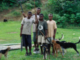 Villagers with Their Dogs Ready for Pig Hunting  Viti Levu  Western Division  Fiji