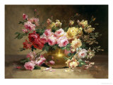 Rich Still Life of Pink and Yellow Roses
