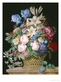 Rich Still Life of Flowers in a Basket