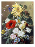 Rich Still Life with Sunflower and Roses