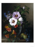 Still Life of Hibiscus and Nasturtium in a Glass Vase