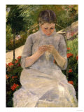 Young Girl in the Garden  Woman Sewing  c1880