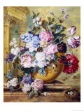 Still Life of Roses  Delphiniums and Tulips