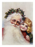 Holly Crowned Father Christmas and Child