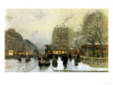 Parisian Street Scene in Winter