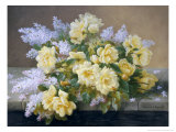Still Life of Yellow Roses with Lilac