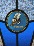 A Single Seabee Logo Built Into a Stained-Glass Window  Al Asad  Iraq