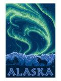 Alaska Northern Lights and Wolf