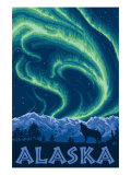 Alaska Northern Lights and Wolf