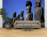 Polynesian Girl with Huge Moai  Ahu Tongariki  Easter Island  Chile