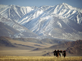 Four Eagle Hunters in Tolbo Sum  Golden Eagle Festival  Mongolia