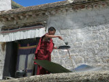Using Solar Panel to Cook  Sera Temple  Lhasa  Tibet  China